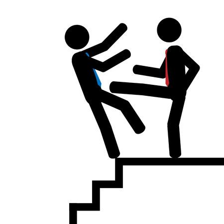 illustrazione uomo: Illustrazione di un uomo spingere un altro uomo gi� per le scale