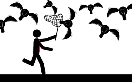 illustration  Man trying to catch flying bulbs Imagens - 29354186