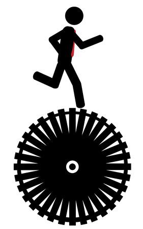 illustration  Man running on a wheel  Vector