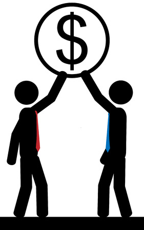 illustration  Two men hold a dollar sign