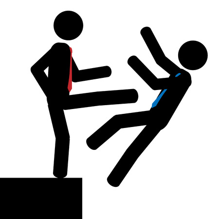 cliff edge: illustration  Man push another man over the cliff