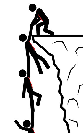 illustration  A man holds his team in one hand from falling  Vector