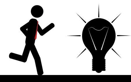 illustration  A man is running to a light bulb  Ilustração
