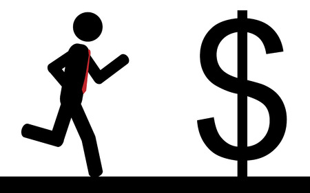 illustration  A man is running to a dollar sign  Ilustração
