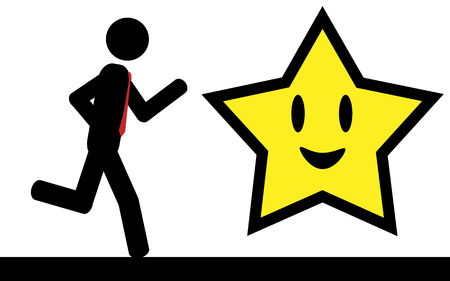 illustration  A man is running to a smile star Imagens - 29354200