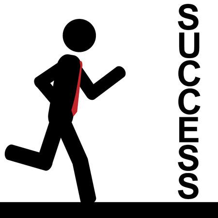 illustration  A man is running to success  Ilustração
