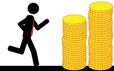 illustration  A man is running to the gold coins  Ilustração