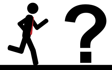 illustration  A man is running to a question mark sign