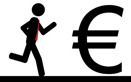 illustration  A man is running to a euro sign