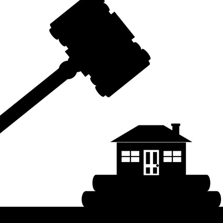 illustration  A house is under the court hammer