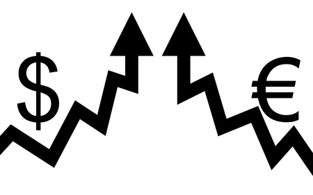 illustration Two graphic arrows are hitting and they go up  Vector