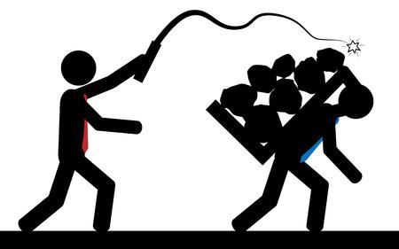 illustration Ein Mann trifft einen anderen Mann mit einer Peitsche