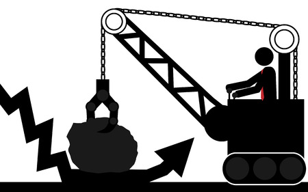 illustration  Man use the crane to lift the rock that is over the arrow