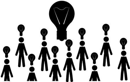 illustration  Many men with light bulbs, and a big light bulb in the middle  Ilustração