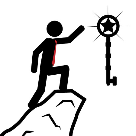 illustration  A man has climbed the mountain to obtain the key