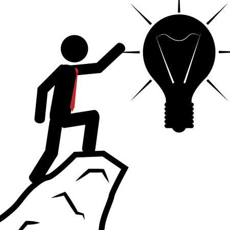 climbed: illustration  A man has climbed the mountain to obtain the light bulb  Illustration