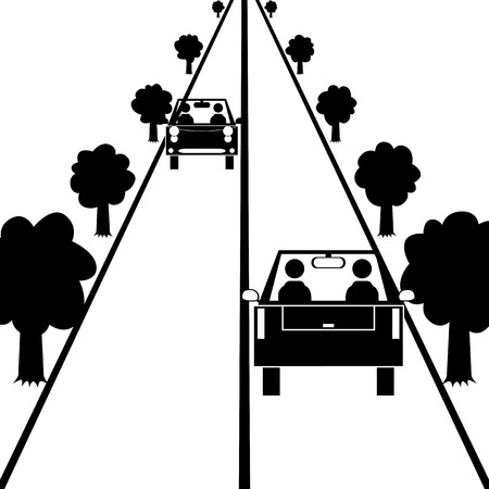 illustration  Two cars are driving on the road