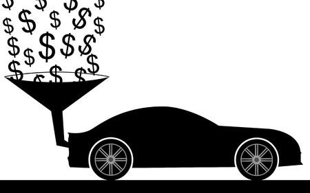 car bills: illustration  The dollars are going in the car