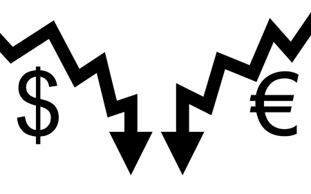 illustration Two graphic arrows are hitting and they go down  Vector