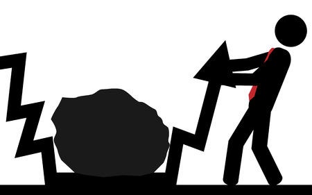 illustration  Man try to free the arrow from under the rock Imagens - 29354537