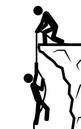 Illustration Ein Mann hält einen anderen Mann in einem Seil Standard-Bild - 29354539