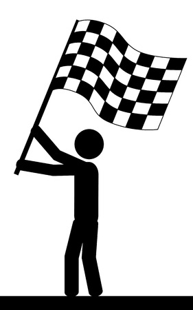 illustration  A man is holding a flag in his hands  Vector