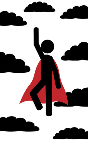 illustration  A man flies between the clouds like superman