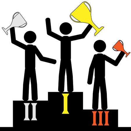 illustration  Three men are staying on the  podium Imagens - 29354544