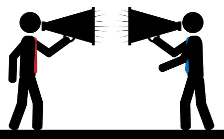 illustration  Two men are  shouting to each other  Vector