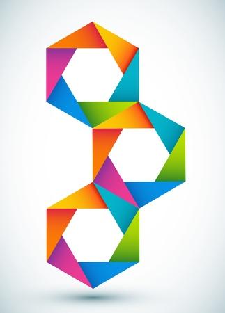 origami banner: Vector illustration colorful shapes composition Illustration