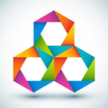 삼각형: 벡터 일러스트 레이 션의 다채로운 모양 구성 일러스트