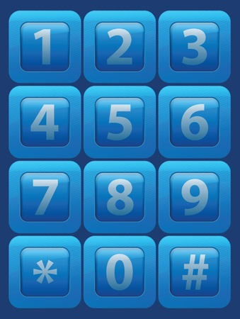 typewrite: Vector futuristic glass buttons with numbers