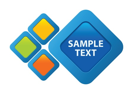 rectangle button: Blue, orange, green, yellow vector text frame Illustration