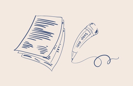 paper note: Pencil and paper sketch vector illustration