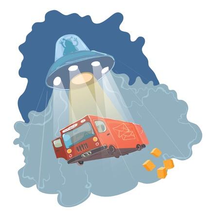 UFO kidnapping illustration Vector