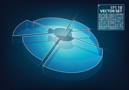 firm: Neon glow vector business chart illustration Illustration