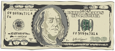 hundred dollar bill: One hundred dollars  Vector illustration isolated