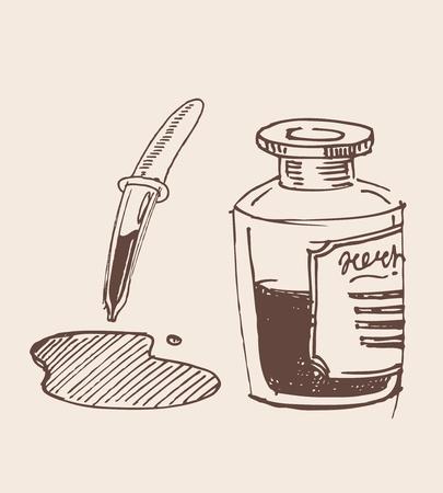 test probe: Contagocce a mano in vetro disegnato illustrazione schizzo