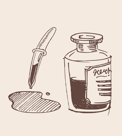 Glass dropper hand drawn sketch illustration Vector