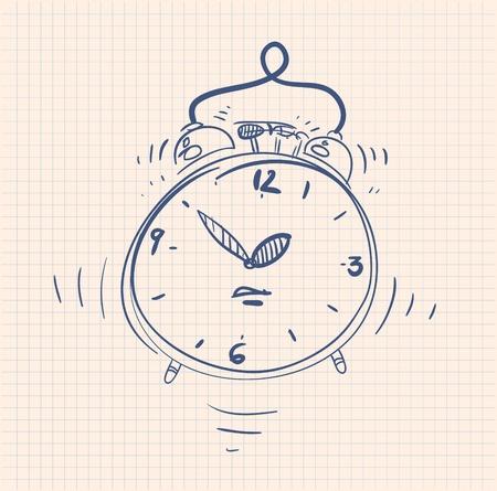 sketch illustration of the alarm clock Vector