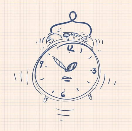 ticking: sketch illustration of the alarm clock