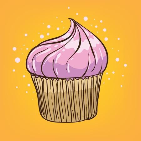 lowbrow: muffin cartoon - hand drawn vector illustration Illustration
