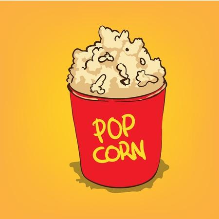 Popcorn in a bucket vector illustration Vector