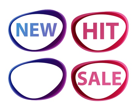 new product: Stickers sale, new, hit signs Stock Photo