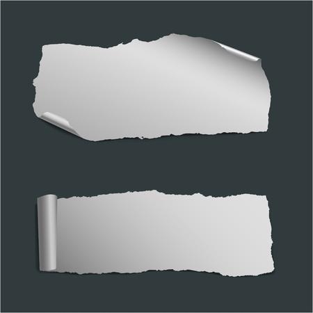 gescheurd papier: verzameling van witte vector stukjes papier Stock Illustratie