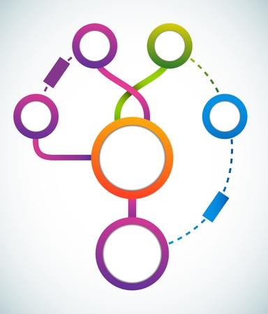 diagrama de flujo: Círculo vacío de color comercialización diagrama de flujo de la ilustración