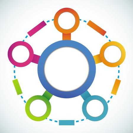 Círculo vacío de color comercialización diagrama de flujo Ilustración de vector
