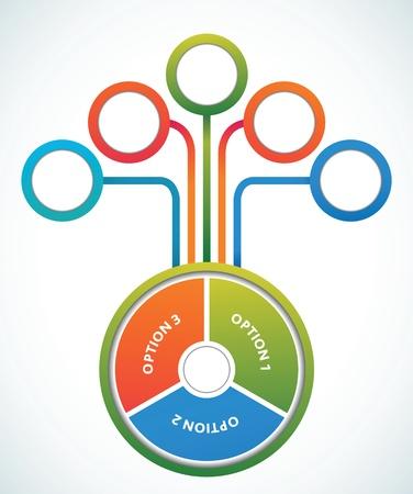 three wheel: Multicolored presentation color circles template
