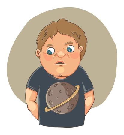 ashamed: Cartoon boy ashamed in cute t-shirt