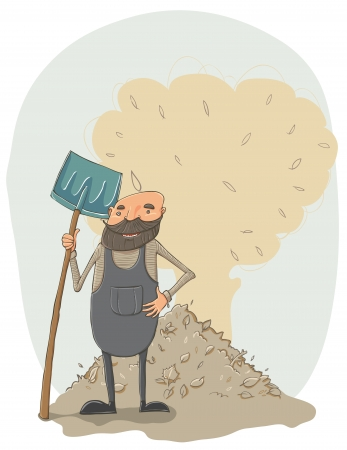 Janitor with a shovel Stock Vector - 17431090
